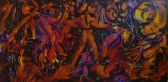 """Titanomachia"", acrylic on plexiglass, cm100 x 50, 2017"