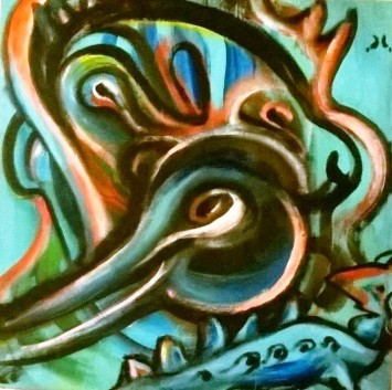 """""""Chimere in blu"""", acrylic on plywood, cm 50 x 50, 2015"""