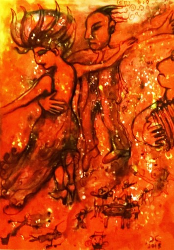 """Tango"", acrylic and mixed media on plywood, cm 80 x 100, 2015"