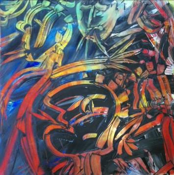 """Wild colour souls"", acrylic on plexiglass, cm 100 x 100, 2017"