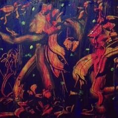 """Fluttuazioni armoniche"", acrylic on polycarbonate, cm 52 x 27.5, 2017"