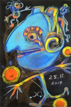 """""""Natale 2015"""", acrylic and mixed media on paper, cm 33 x 24, 2015"""