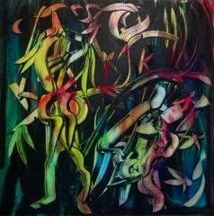"""Batwoman and Spring"", acrylic on plexiglass, cm 100 x 100, 2017"