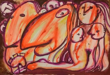 """""""Family"""", mixed media on paper, cm 48 x 33, 2016"""