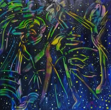 """Space-light"", acrylic on plexiglass, cm 100 x 100, 2017"