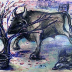 """Taurus""-illustration for a book of short stories (""La Casa ricamata""), crayons and mixed media on paper, cm 33 x 24, 2014"