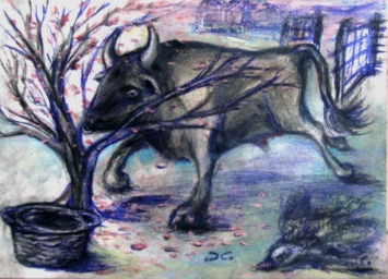 """""""Taurus""""-illustration for a book of short stories (""""La Casa ricamata""""), crayons and mixed media on paper, cm 33 x 24, 2014"""