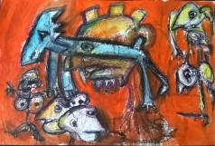 """""""Eroi epici"""", watercolor pastels on paper, cm 45 x 30.5, 2016"""