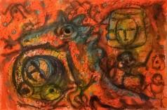 """Il drago"", watercolor pastels on paper, cm 45 x 30.5, 2016"