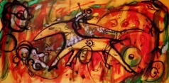 """""""Il cavallo di Troia"""", acrylic and mixed media on plywood, cm 120 x 60, 2015 - published in a book of short stories by Pina Magro: """"La dama in verde"""""""