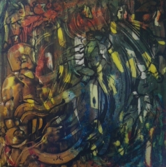 """Ancient Kings"", acrylic on plexiglass, cm 100 x 100, 2017"