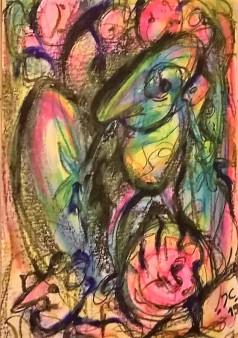 """Eroi epici 6"", mixed media on paper, cm 48 x 33, 2015"