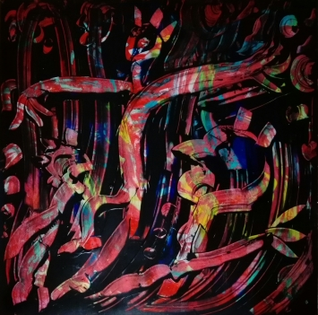"""Uomini gallo"", acrylic on plexiglass, cm 100 x 100, 2017"