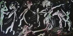 """""""Cavaliere errante nella città degli uomini gallo"""", acrylic on plexiglass, cm 100 x 50, 2017"""