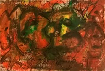 """Eroi epici 7"", mixed media on paper, cm 45 x 30.5, 2016"