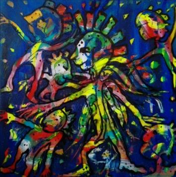 """Joker"", acrylic on plexiglass, cm 100 x 100, 2017"