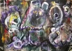 """Eroi epici 5"", mixed media on paper, cm 48 x 33, 2016"