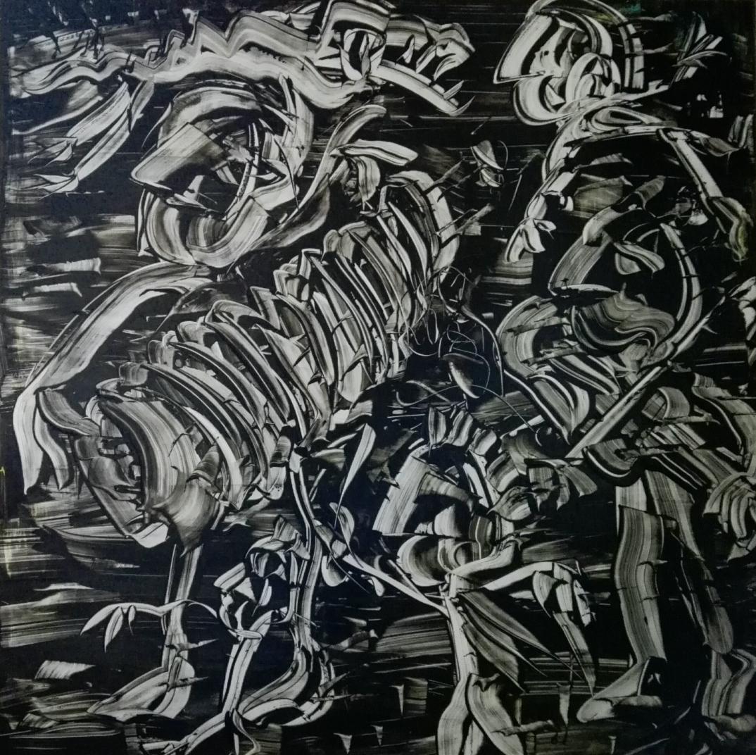 """Black and White"", acrylic on plexiglass, cm 100 x 100, 2017"