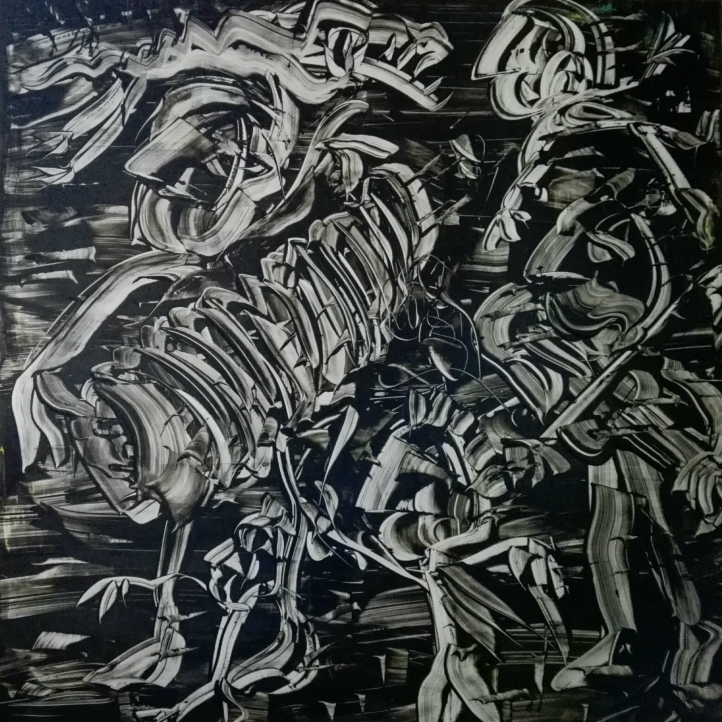 """Black and White"", acrylic on plexiglass, cm 100 x 100, 2017"