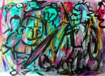 """Eroi epici 8"", mixed media on paper, cm 48 x 33, 2016"