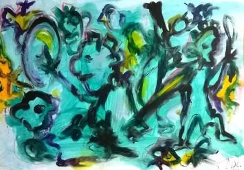 """Guerrieri in verde"", watercolor pastels on paper, cm 48 x 33, 2016"