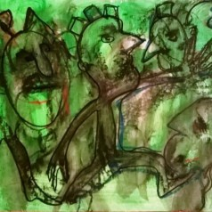 """Guerrieri in verde 2"", watercolor pastels on paper,cm 45 x 30.5, 2016"