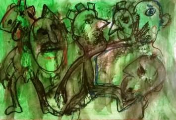 """Guerrieri in verde 2"", watercolor pastels on paper,cm 45 x 30.5, 2016"