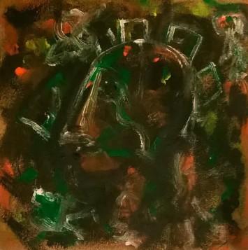 """Eroi epici 2"", acrylic and mixed media on cork panel, cm 50 x 50, 2016"