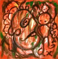 """People 2"", acrylic and mixed media on cork panel, cm 50 x 50, 2016"