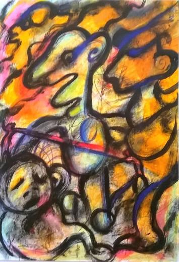 """Correnti"", mixed media on paper, cm 24 x 33, 2015"