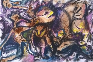 """""""Carnaio bellico"""", watercolor pastels and mixed media on paper, cm 48 x 33, 2015"""