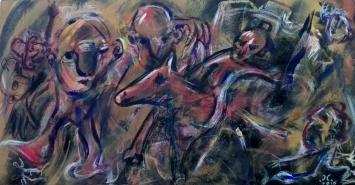 """Cavalieri"", acrylic and mixed media on wood panel, cm 85 x 45, 2016"