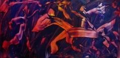 """The magic creature"", acrylic on plexiglass, cm 100 x 50, 2017"