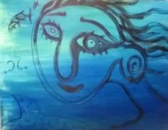 """Trasparenze in blu"", acrylic on plywood, cm 80 x 60, 2014"