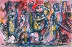 """Guerrieri n rosso"", watercolor pastels on paper, cm 48 x 33, 2016"