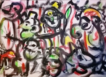 """""""Guerrieri in bianco"""", acrylic on plywood, cm 122 x 80, 2016"""