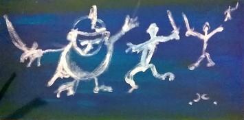 """Guerrieri danzanti 2"", acrylic on wood panel, cm 50 x 30, 2015"