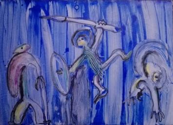 """""""Guerrieri danzanti"""", acrylic on cardboard, cm 71.50 x 51.50, 2015"""