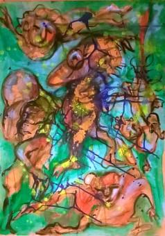 """Folli in verde"", acrylic on plywood, cm 60 x 80, 2015"
