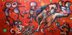 """""""Zar e zarine"""", acrylic and materic media on plywood, cm 120 x 60, 2016"""