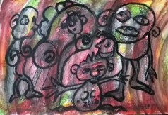 """""""People 3"""", acrylic and mixed media on paper, cm 33 x 24, 2016"""