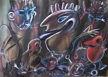 """Ombre graffianti"", acrylic on cardboard, cm 70 x 50, 2015"