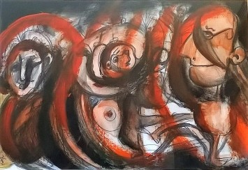 """""""Onde e bande"""", acrylic and mixed media on paper, cm 48 x 33, 2015"""