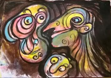 """Il gallo"", watercolor pastels on paper, cm 48 x 33, 2016"