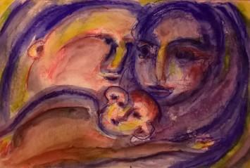 """""""Maternità"""", watercolor pastels on paper, cm 48 x 33, 2016"""