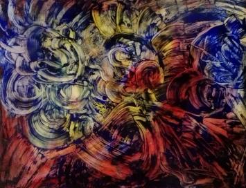 """Uomo gallo"", acrylic on plexiglass, cm 80 x 60, 2017"