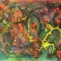 """""""Battaglie"""", acrylic on cardboard, cm 70 x 50, 2015"""