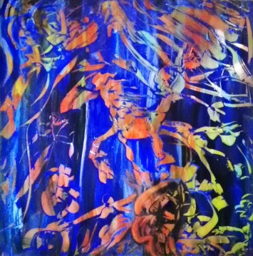 """""""Stars Horse"""", acrylic on plexiglass, cm 100 x 100, 2017 - published in a book of short stories by Pina Magro: """"La dama in verde"""""""