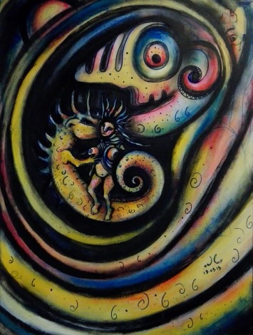 """La principessa e il drago"", acrylic and mixed media on plywood, cm 60 x 80, 2015"